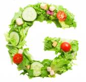 G letter made from salad — Stock Photo