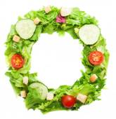O letter made from salad — Stock Photo