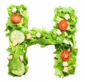 H letter made from salad — Stock Photo