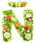 N letter made from salad — Stock Photo