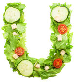 U letter made from salad — Stock Photo