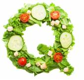 Q letter made from salad — Stock Photo