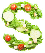 S letter made from salad — Stock Photo