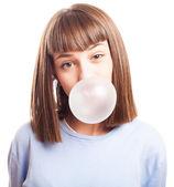 Girl doing a bubble — Stock Photo