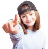 Girl with a turned cap — Stock Photo