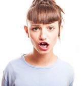 Girl with a ridiculous look — Stock Photo