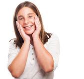 Embarrassed girl gesturing — Stock Photo