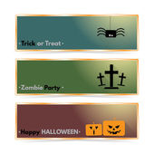 Website spooky header or banner set with Halloween spider and gravestone and gravestone. — Vector de stock