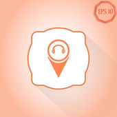 Headphones icon - vector map pointer. — 图库矢量图片