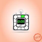 电子秒表图标。现实的金属计时器。五秒。厨房的钟。平面设计风格. — 图库矢量图片