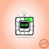 Electronic Stopwatch Icon. Realistic metallic timer. Ten seconds. Kitchen Clock. Isolated Object. Flat Design Style. — Stock Vector