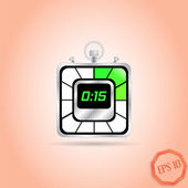 Electronic Stopwatch Icon. Realistic metallic timer. Fifteen seconds. Kitchen Clock. Flat Design Style. — Stockvektor