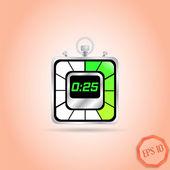 Electronic Stopwatch Icon. Realistic metallic timer. Twenty-five seconds. Kitchen Clock. Flat Design Style. — Stock Vector