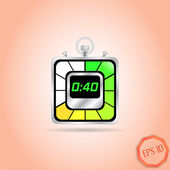 Electronic Stopwatch Icon. Realistic metallic timer. Forty seconds. Kitchen Clock. Flat Design Style. — Stock Vector