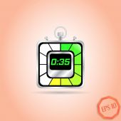 Electronic Stopwatch Icon. Realistic metallic timer. Thirty-five seconds. Kitchen Clock. Flat Design Style. — Stock Vector