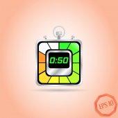 电子秒表图标。现实的金属计时器。五十秒。厨房的钟。平面设计风格. — 图库矢量图片