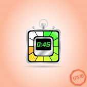 Electronic Stopwatch Icon. Realistic metallic timer. Forty-five seconds. Kitchen Clock. Flat Design Style. — Stock Vector