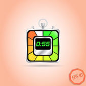 Electronic Stopwatch Icon. Realistic metallic timer. Fifty-five seconds. Kitchen Clock. Flat Design Style. — Stockvektor