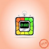 Electronic Stopwatch Icon. Square Timer. Sixty seconds. Kitchen Clock. Flat Design Style. — Stock Vector
