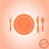 Icon knife, plates and forks. Cafe restaurant. Flat design style — Cтоковый вектор
