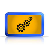Cogwheel and development icon. Isolated on white background. Specular reflection — Stock Vector