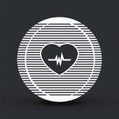 Icon heart with pulse. Flat design style. — Stock Vector