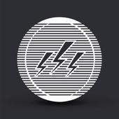 Three lightning icon. Flat design style. — Stock Vector