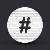 Hashtag sign icon. Flat design style.  — Stock Vector