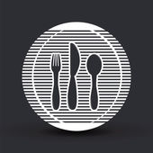 Icon knife, spoon and forks. Cafe restaurant. Flat design style. — Stock Vector