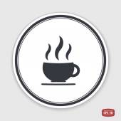 Coffee cup icon. Tea cup. Flat design style. Emblem or label with shadow. Emblem or label with shadow. — Wektor stockowy