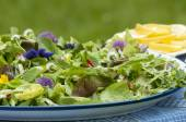 Salad with eatable flowers — Stock Photo