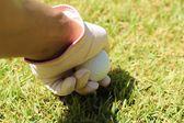 Bir tee Golf topu yerleştirme — Stok fotoğraf