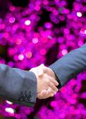 Business handshake and blur lighe background — Stock Photo