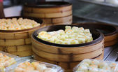 Chinese steamed dimsum in bamboo containers — Stock Photo