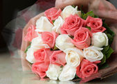 Bouquet pink and white roses  flower — Stock Photo