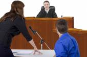 Defendant with lawyer — Stock Photo