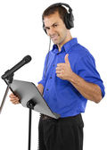 Male voice over artist or singer on a microphon — Стоковое фото