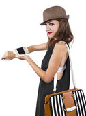 Cellphone taped into womans wrist as a DIY smart watch — Stock Photo