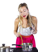 Caucasian female making soup — Stock Photo