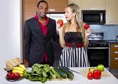 Couple preparing in the kitchen — Stock Photo