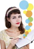 Girl with sketchbook and pencil — Stockfoto