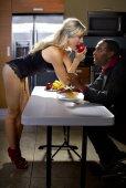 Sexy caucasian female distracting boyfriend — Stock Photo