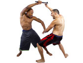 Martial artists sparring with Kali Escrima — Foto Stock