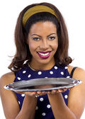 Black female holding empty tray — Stock Photo