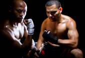 Trainer motivating Boxer — Stock Photo