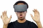 Male wearing virtual reality headset — Stock Photo