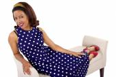 Female wearing  polka-dot dress — Stock Photo