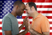 Interracial gay couple celebrating 4th of July — Foto Stock