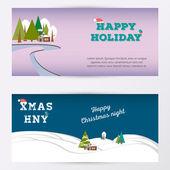 Merry Christmas banner gorizontal background, vector illustration. Winter forest in the night. — Stockvektor