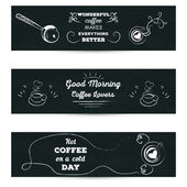 Set of horizontal banners. Poster with greeting lettering stylized drawing with cup of coffe chalk on blackboard, for cafe — ストックベクタ